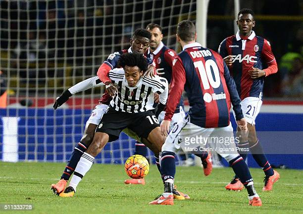 Juan Cuadrado of Juventus FC in action during the Serie A match between Bologna FC and Juventus FC at Stadio Renato Dall'Ara on February 19 2016 in...