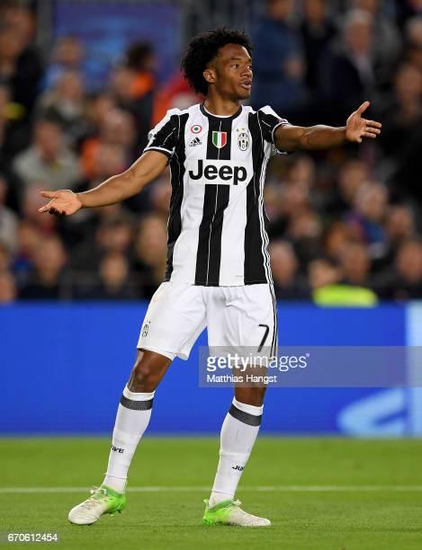 Juan Cuadrado of Juventus gestures during the UEFA Champions League Quarter Final second leg match between FC Barcelona and Juventus at Camp Nou on...