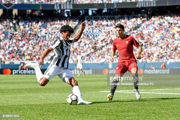 Juan Cuadrado of Juventus in action during the International Champions Cup 2017 match between AS Roma and Juventus at Gillette Stadium on July 30...