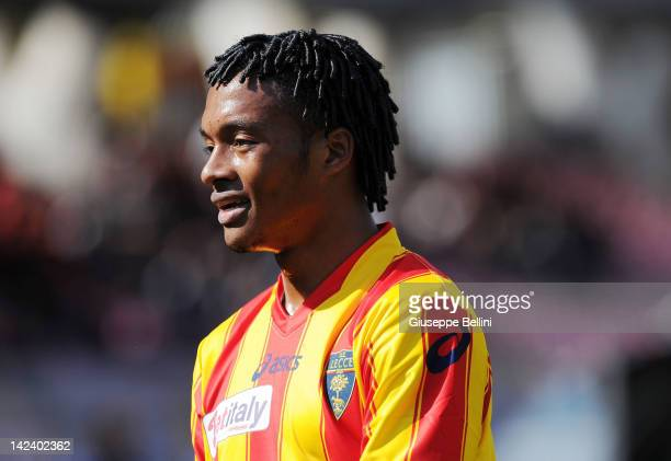 Juan Cuadrado of Lecce in action during the Serie A match between US Lecce and AC Cesena at Stadio Via del Mare on April 1 2012 in Lecce Italy