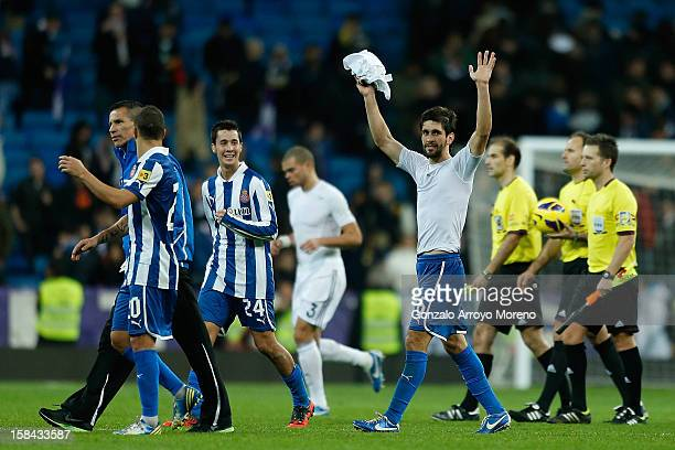 Juan Daniel Forlin Joan Verdu and Christian Alfonso Lopez of RCD Espanyol celebrate as Pepe of Real Madrid CF looks dejected after the La Liga match...