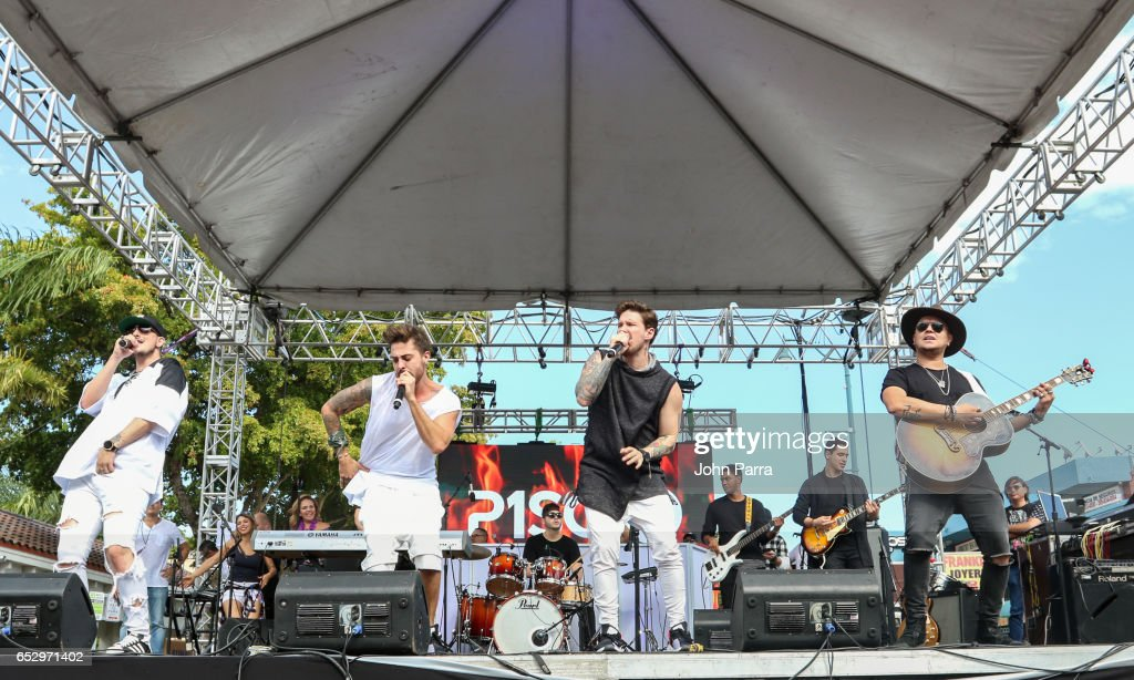 Juan David M. Castano, Juan David Huertas Clavijo, Pablo Mejia Bermudez and David Escobar Gallego of Piso 21 perform on stgae during the iHeartLatino TU94.9FM Calle Ocho festival on March 12, 2017 in Miami, Florida.
