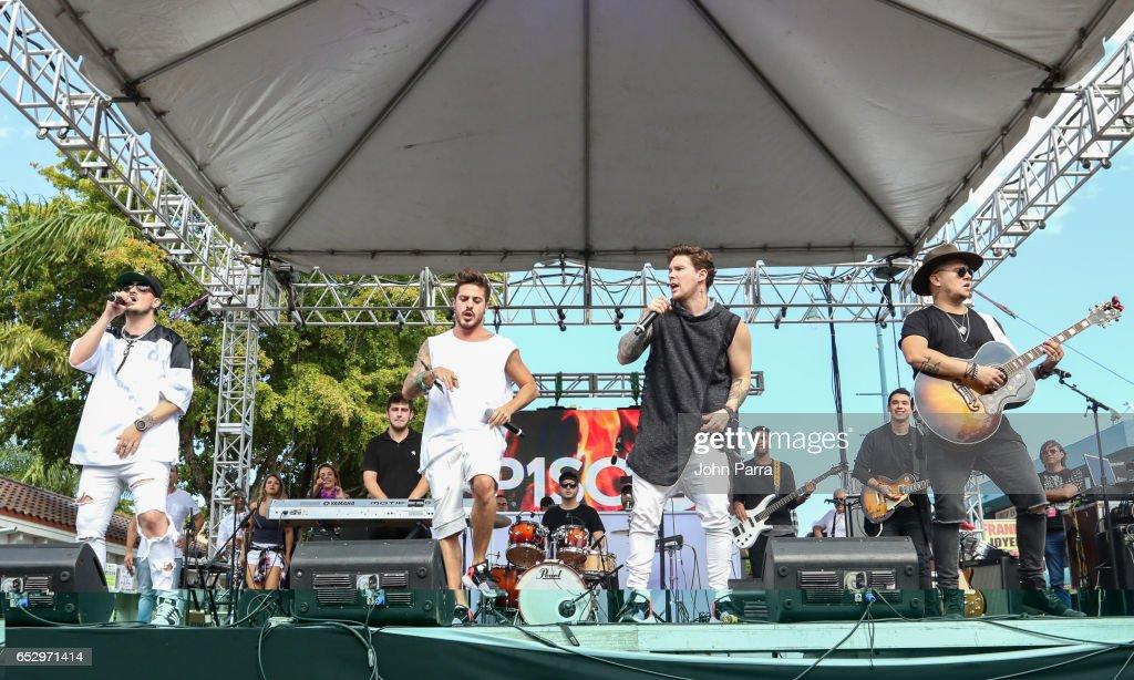 Juan David M. Castano, Juan David Huertas Clavijo, Pablo Mejia Bermudez and David Escobar Gallego of Piso 21 perform on stgae during the iHeartLatino TU94.9FM Calle Ocho festival on March 12, 2017 in Miami, Florida.