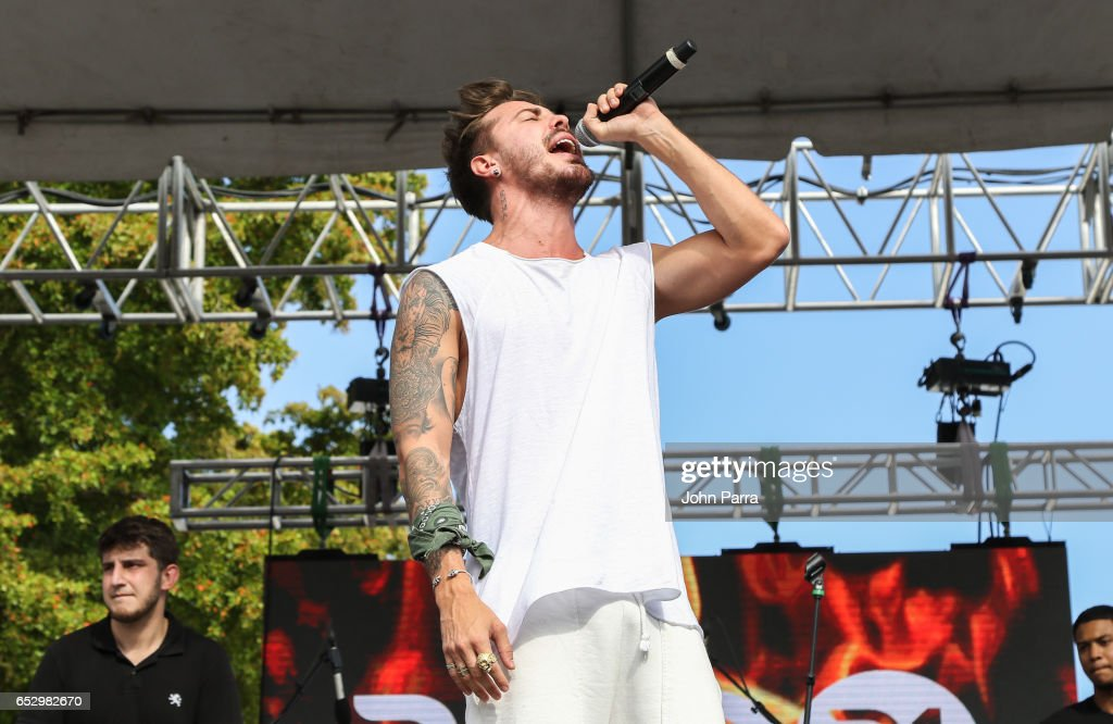 Juan David M. Castano, of Piso 21 performs during the iHeartLatino TU94.9FM Calle Ocho festival on March 12, 2017 in Miami, Florida.