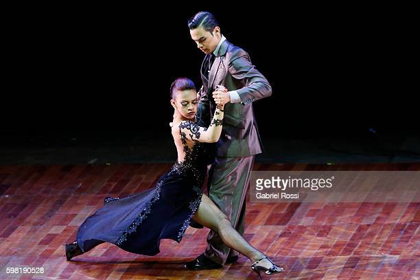 Juan David Vargas and Paulina Mejia of Argentina dance during the Stage Tango Final as part of Buenos Aires Tango Festival World Championship 2016 at...
