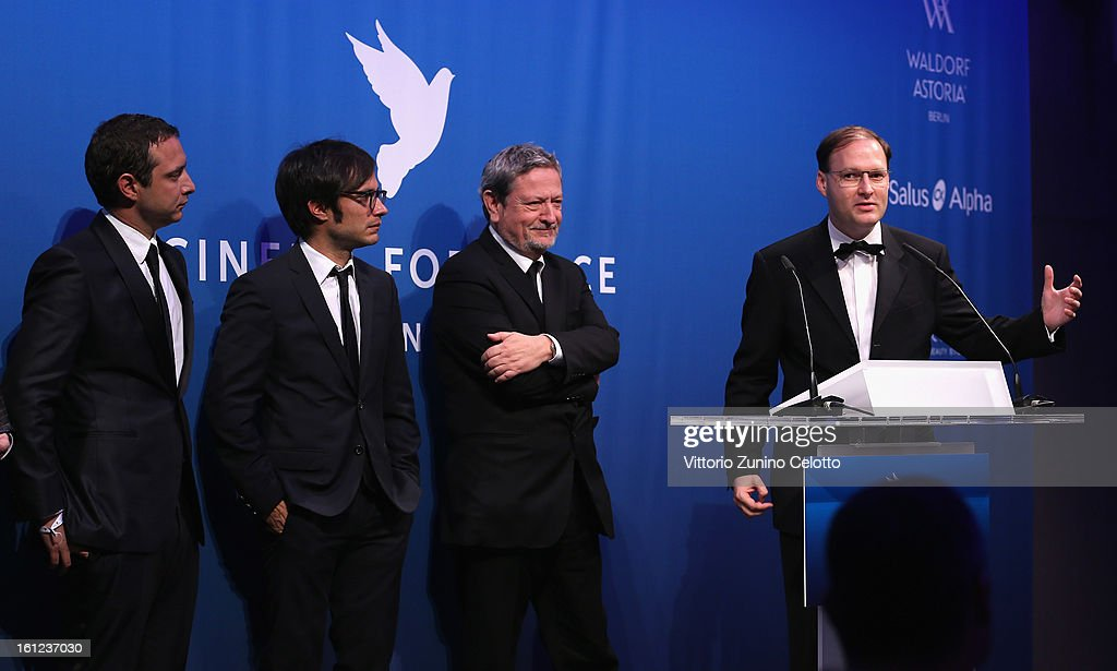 Juan de Dios Larraín, Gael Garcia Bernal, Luis Moreno Ocampo and Jaka Bizilj during the Cinema For Peace Gala Ceremony at the 63rd Berlinale International Film Festival at the Waldorf Astoria Hotel on February 9, 2013 in Berlin, Germany.