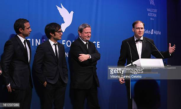 Juan de Dios Larraín Gael Garcia Bernal Luis Moreno Ocampo and Jaka Bizilj during the Cinema For Peace Gala Ceremony at the 63rd Berlinale...