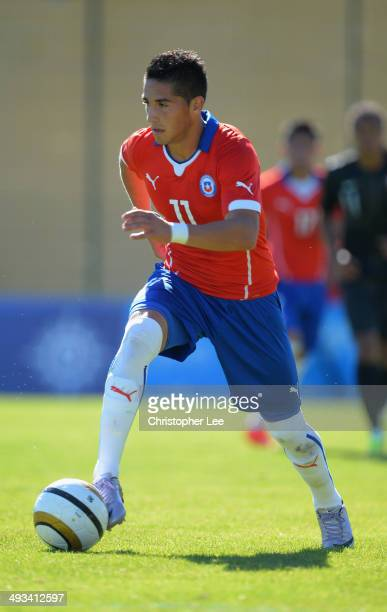 Juan Delgado of Chile in action during the Toulon Tournament Group A match between Portugal and Chile at the Stade Perruc on May 23 2014 in Hyeres...