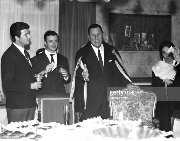 Juan Domingo Peron during a party at his house in Madrid Madrid Spain