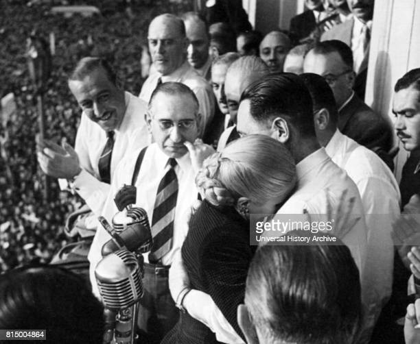 Juan Domingo Peron with his wife Evita Peron after Evita announced to a crowd that she would not stand for office as Vice president of Argentina in...