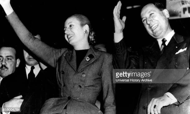 Juan Domingo Peron with his wife Evita Peron in 1951 Juan Peron Argentine general and politician He was elected President of Argentina serving from...