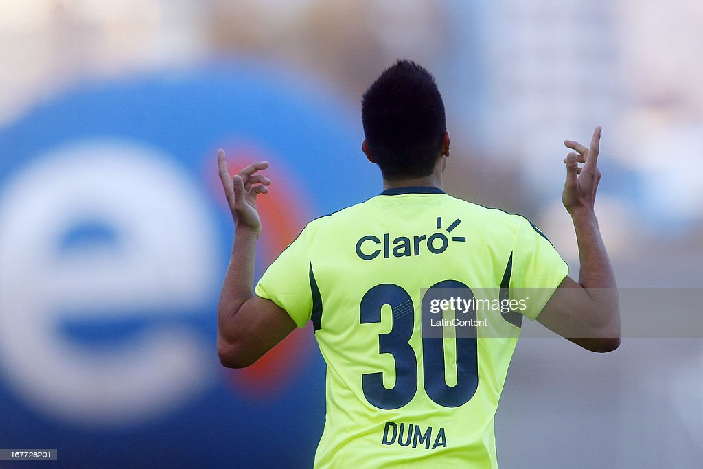 Juan Duma of Universidad de Chile, celebrates a scored goal during a match between Universidad de Chile and Antofagasta as part of the Torneo Transicion 2013 at Bicentenario Calvo y Bascunan stadium on April 28, 2013 in Antofagasta, Chile.