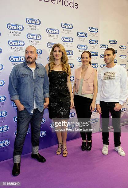 Juan Duyos Miss World 2016 Mireia Lalaguna Ana Locking and Ion Fiz attend OralB campaign during the MercedesBenz Madrid Fashion Week Autumn/Winter...