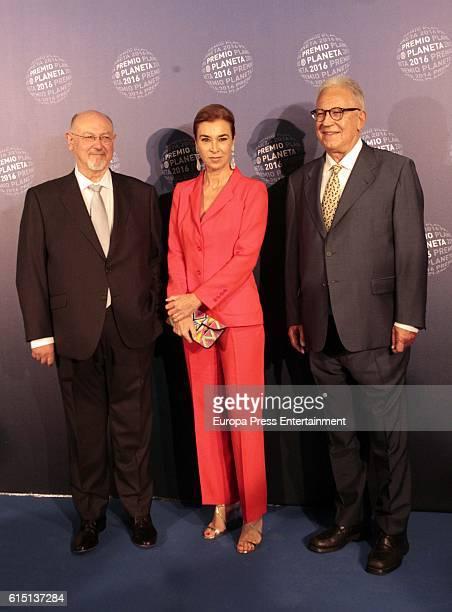 Juan Eslava Galan Carmen Posadas and Fernando Garcia Delgado attend the 2016 Premio Planeta award on October 15 2016 in Barcelona Spain