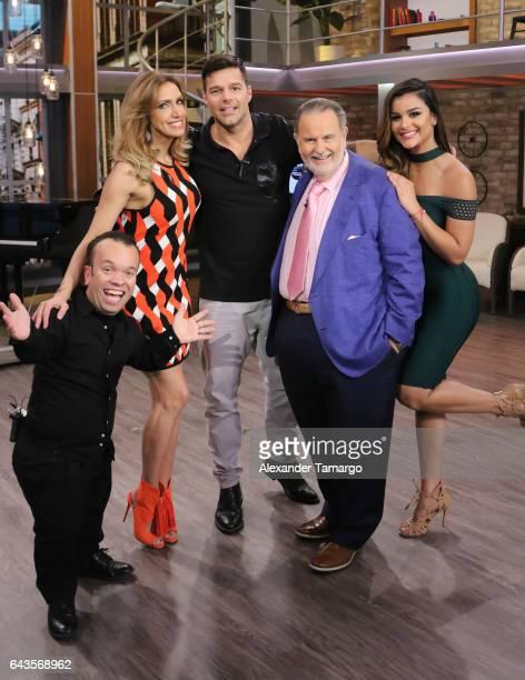 Juan Espinosa Lili Estefan Ricky Martin Raul de Molina and Clarissa Molina are seen on the set of 'El Gordo y La Flaca' at Univision Studios on...