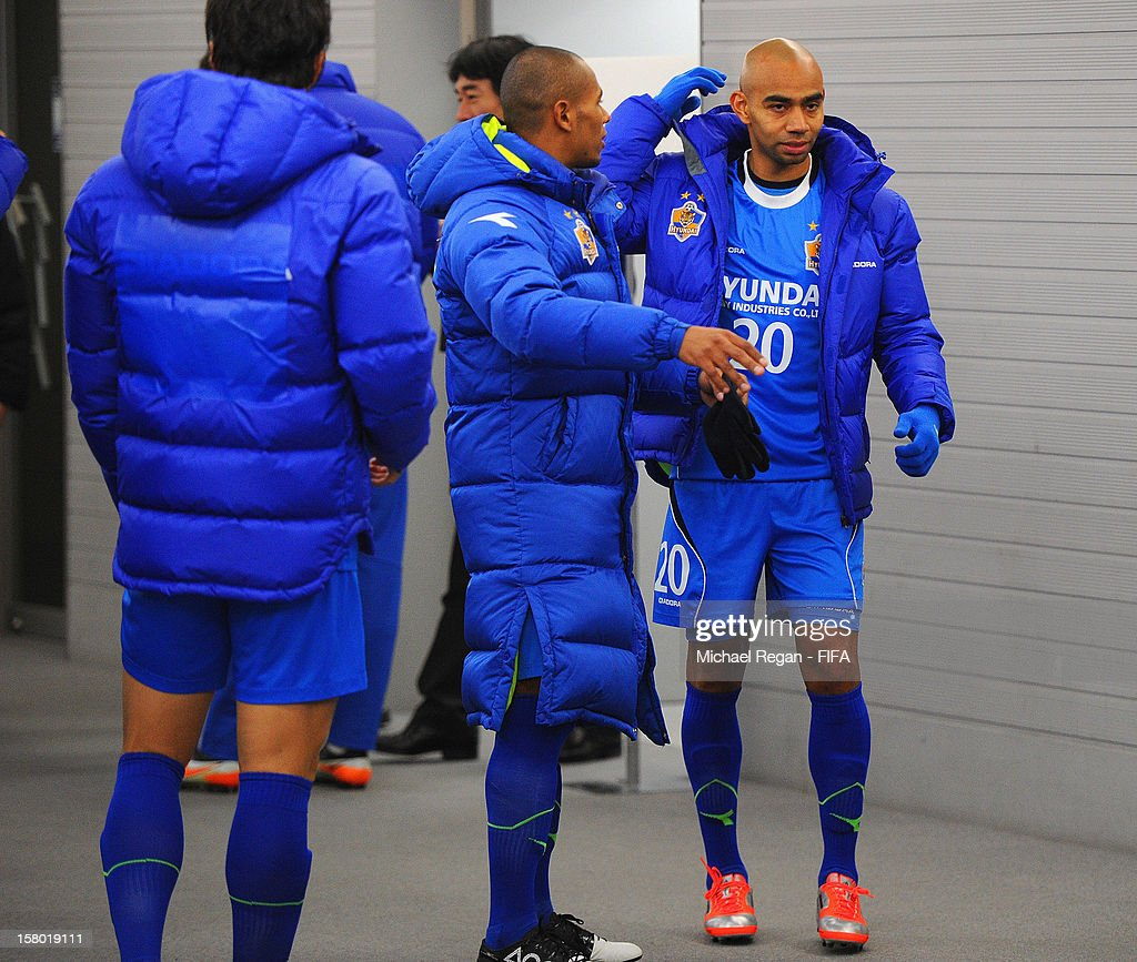 Juan Estiven Velez of Ulsan Hyundai speaks to team mate Rafina in the tunnel before the FIFA Club World Cup Quarter Final match between Ulsan Hyundai and CF Monterrey at Toyota Stadium on December 9, 2012 in Toyota, Japan.
