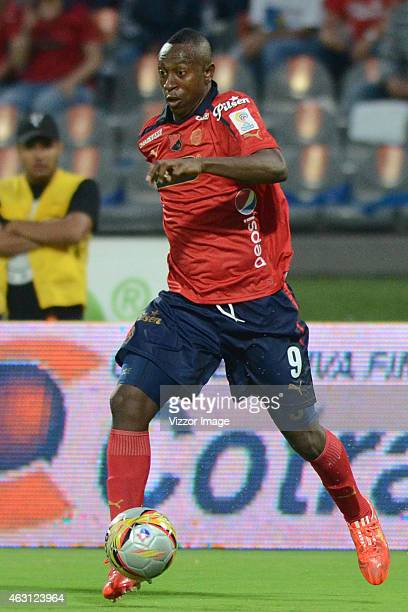 Juan F Caicedo player of Independiente Medellin drives the ball during a match between Independiente Medelin and Atletico Nacional as part of second...