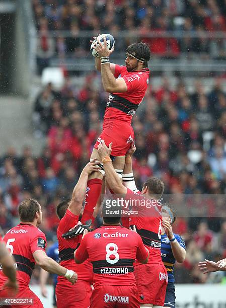 Juan Fernandez Lobbe of Toulon wins the lineout during the European Rugby Champions Cup semi final match between RC Toulon and Leinster at Stade...