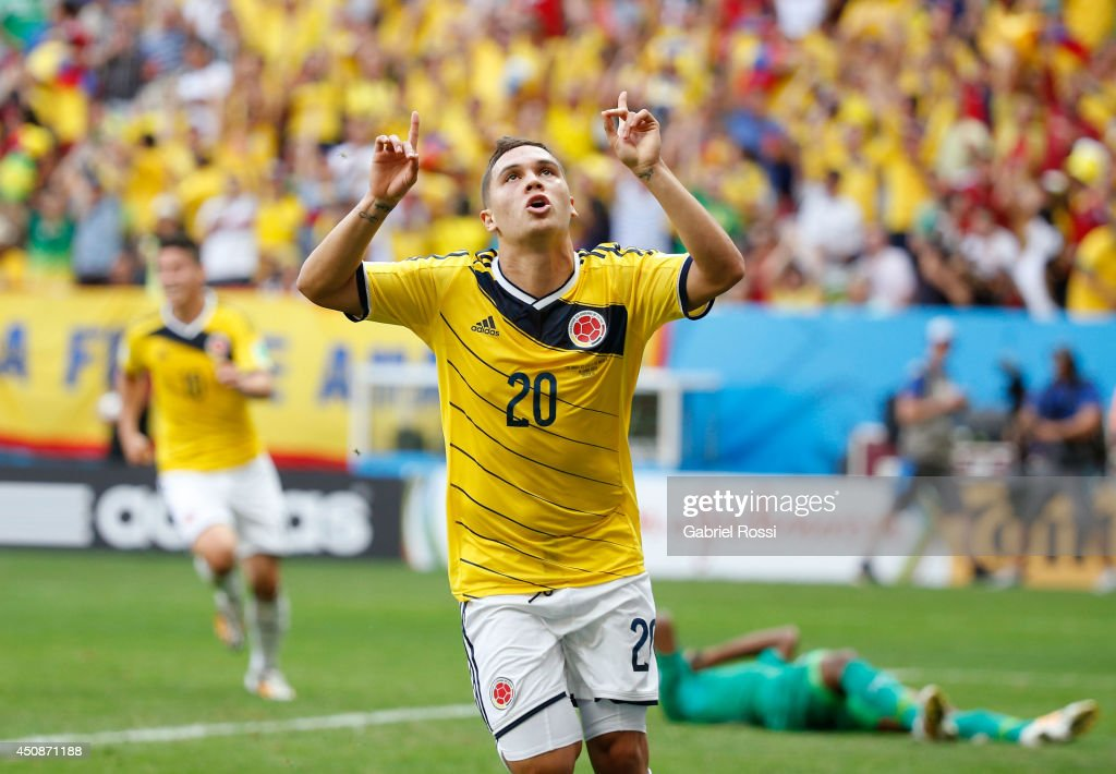 <a gi-track='captionPersonalityLinkClicked' href=/galleries/search?phrase=Juan+Fernando+Quintero&family=editorial&specificpeople=9630789 ng-click='$event.stopPropagation()'>Juan Fernando Quintero</a> of Colombia celebrates after scoring his team's second goal during the 2014 FIFA World Cup Brazil Group C match between Colombia and Cote D'Ivoire at Estadio Nacional on June 19, 2014 in Brasilia, Brazil.
