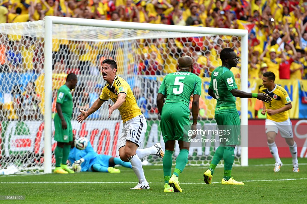 Juan Fernando Quintero of Colombia celebrates scoring his team's second goal during the 2014 FIFA World Cup Brazil Group C match between Colombia and...