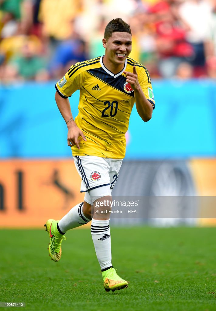 <a gi-track='captionPersonalityLinkClicked' href=/galleries/search?phrase=Juan+Fernando+Quintero&family=editorial&specificpeople=9630789 ng-click='$event.stopPropagation()'>Juan Fernando Quintero</a> of Colombia celebrates scoring his team's second goal during the 2014 FIFA World Cup Brazil Group C match between Colombia and Cote D'Ivoire at Estadio Nacional on June 19, 2014 in Brasilia, Brazil.