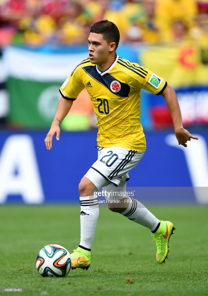 Juan Fernando Quintero of Colombia in action during the 2014 FIFA World Cup Brazil Group C match between Colombia and Cote D'Ivoire at Estadio...