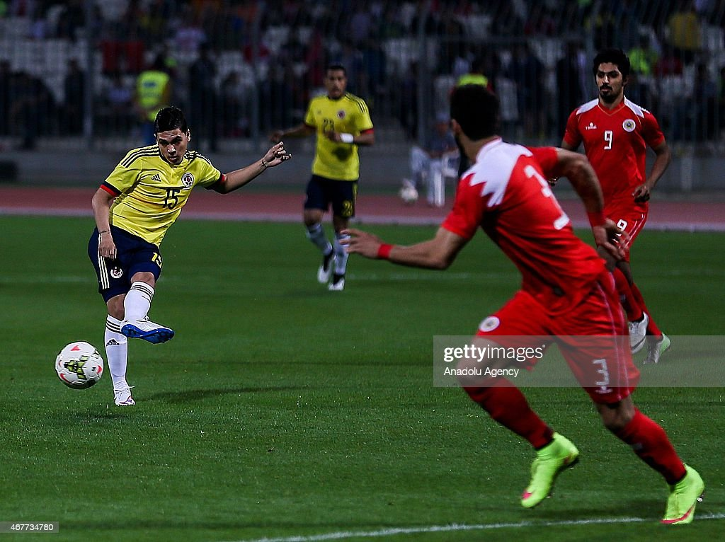 Juan Fernando Quintero of Colombia is in action during the International Friendly match between Bahrain and Colombia at Bahrain National Stadium in...