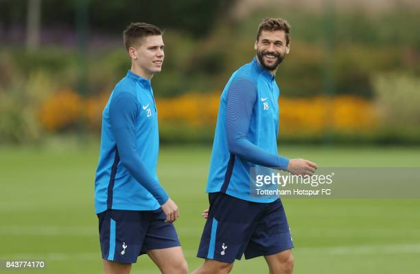 Juan Foyth and Fernando Llorente of Tottenham during the Tottenham Hotspur training session at Tottenham Hotspur Training Centre on September 7 2017...