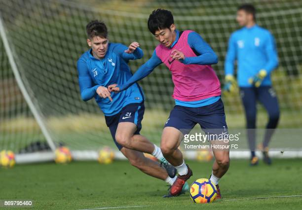 Juan Foyth and Heungmin Son of Tottenham during the Tottenham Hotspur training session at Tottenham Hotspur Training Centre on November 3 2017 in...