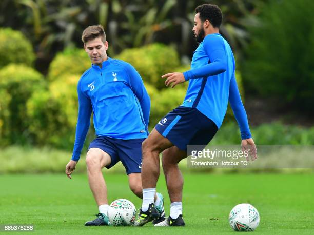 Juan Foyth and Mousa Dembele during the Tottenham Hotspur training session at Tottenham Hotspur Training Centre on October 23 2017 in Enfield England