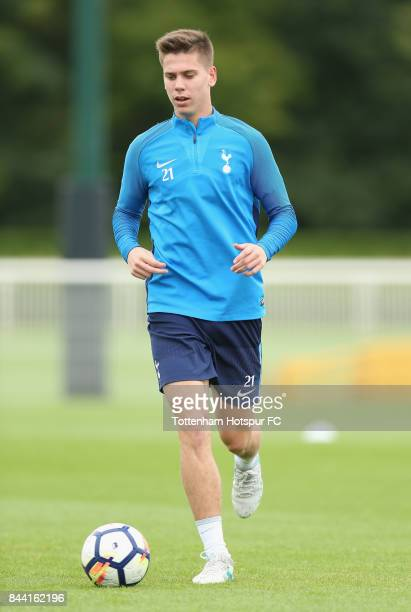 Juan Foyth of Tottenham during the Tottenham Hotspur training session at Tottenham Hotspur Training Centre on September 8 2017 in Enfield England