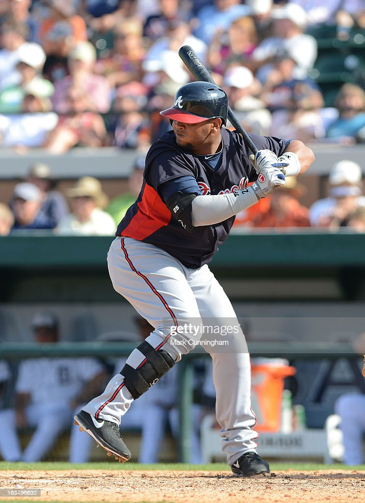 Juan Francisco #25 of the Atlanta Braves bats during the spring training game against the Detroit Tigers at Joker Marchant Stadium on February 27, 2013 in Lakeland, Florida. The Braves defeated the Tigers 5-3.