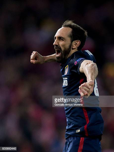 Juan Francisco Torres alias Juanfran of Atletico de Madrid celebrates thier victory after winning the UEFA Champions League quarter final second leg...