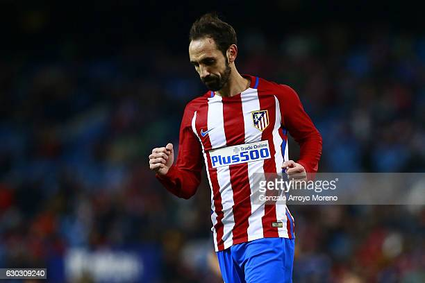 Juan Francisco Torres alias Juanfran of Atletico de Madrid celebrates scoring their third goal during the Copa del Rey Round of 16 match between Club...