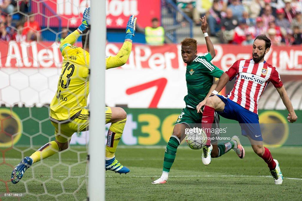 Juan Francisco Torres alias Juanfran of Atletico de Madrid scores their third goal during the La Liga match between Club Atletico de Madrid and Real...