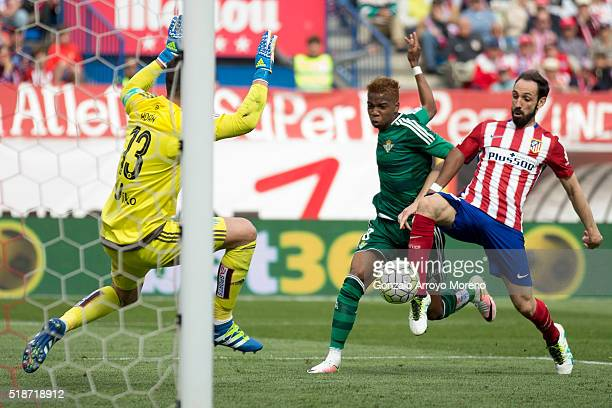 Juan Francisco Torres alias Juanfran of Atletico de Madrid scores their third goal during the La Liga match between Club Atletico de Madrid and Real...