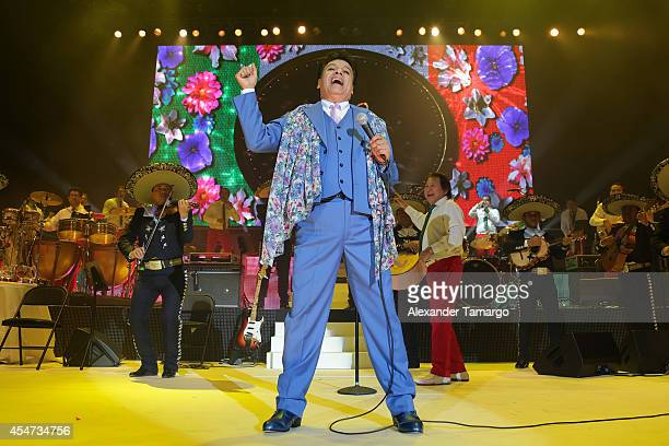 Juan Gabriel performs on stage during the opening night of his Volver 2014 tour at American Airlines Arena on September 5 2014 in Miami Florida