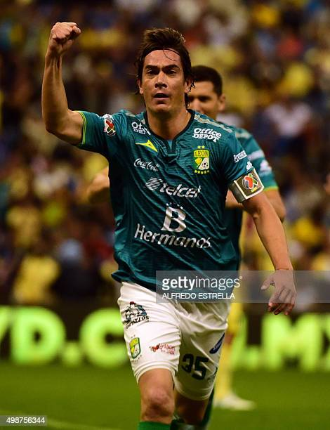 Juan Gonzalez of Leon celebrates his goal against America during their Apertura Soccer 2015 tournament match at the Aztec Stadium in Mexico City on...
