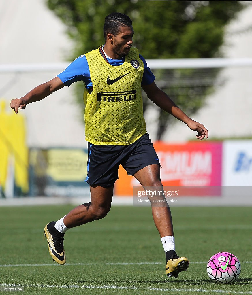 Juan Guilherme Nunes Jesus of FC Internazionale Milano does a Rabona during the FC Internazionale training session at the club's training ground 'La Pinetina' on May 3, 2016 in Como, Italy.