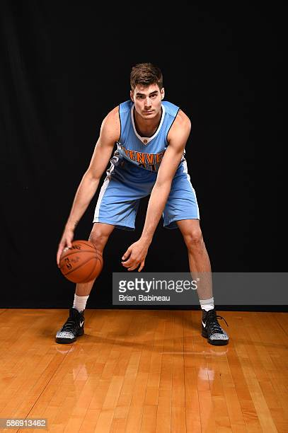 Juan Hernangómez of the Denver Nuggets poses for a portrait during the 2016 NBA rookie photo shoot on August 7 2016 at the Madison Square Garden...