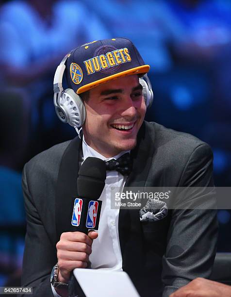 Juan Hernangomez is interviewed after being drafted 15th overall by the Denver Nuggets in the first round of the 2016 NBA Draft at the Barclays...