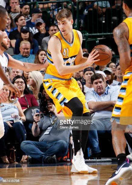 Juan Hernangomez of the Denver Nuggets handles the ball against the Dallas Mavericks during the game on April 11 2017 at the American Airlines Center...