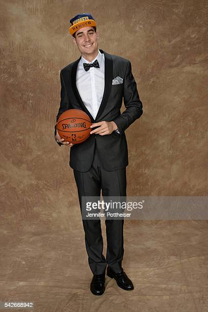 Juan Hernangomez poses for a portrait after being drafted number fifteen overall to the Denver Nuggets during the 2016 NBA Draft on June 23 2016 at...