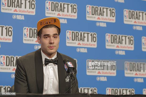 Juan Hernangomez speaks with press after being selected fiftieth overall by the during the 2016 NBA Draft on June 23 2016 at Barclays Center in...