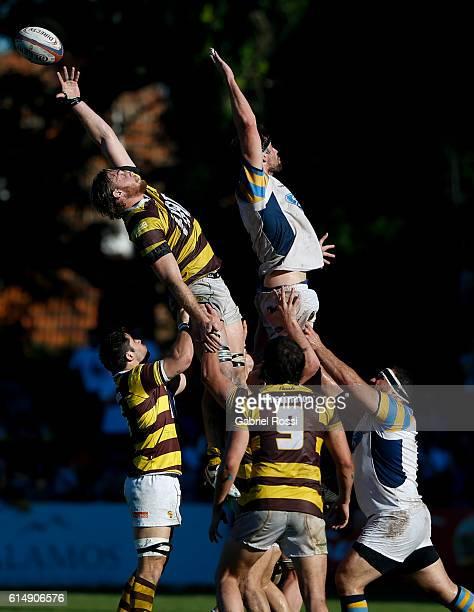 Juan Ignacio Lando of Belgrano Athletic jumps for a lineout ball with Lautaro Bavaro of Hindu during a match between Belgrano Athletic and Hindu Club...
