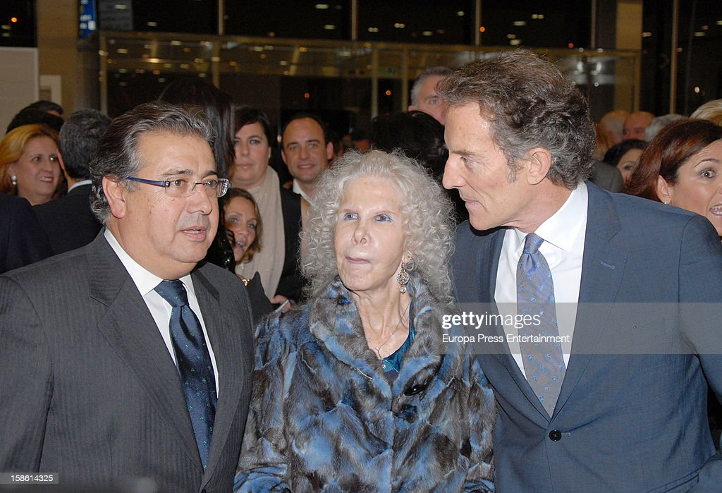 Juan Ignacio Zoido Duchess of Alba <a gi-track='captionPersonalityLinkClicked' href=/galleries/search?phrase=Cayetana+Fitz-James+Stuart&family=editorial&specificpeople=6090682 ng-click='$event.stopPropagation()'>Cayetana Fitz-James Stuart</a> and Duke of Alba <a gi-track='captionPersonalityLinkClicked' href=/galleries/search?phrase=Alfonso+Diez&family=editorial&specificpeople=6697714 ng-click='$event.stopPropagation()'>Alfonso Diez</a> attend the Porcelanosa new store opening on December 20, 2012 in Seville, Spain.