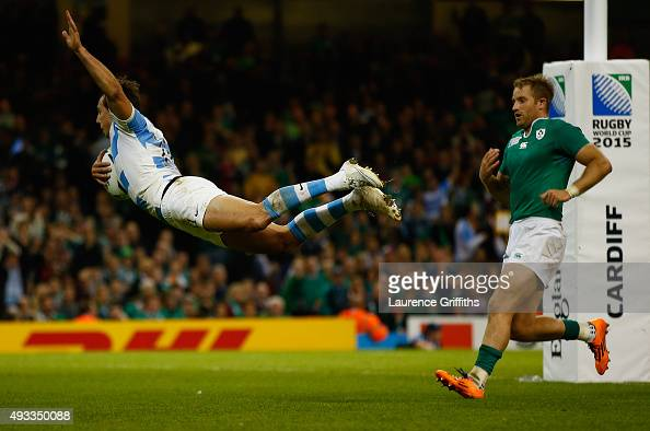 Juan Imhoff of Argentina dives to score a second half try during the 2015 Rugby World Cup Quarter Final match between Ireland and Argentina at...