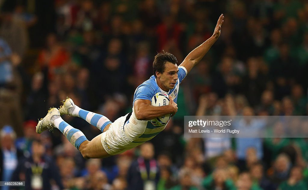 Juan Imhoff of Argentina scores his team's fourth try during the 2015 Rugby World Cup Quarter Final match between Ireland and Argentina at Millennium Stadium on October 18, 2015 in Cardiff, United Kingdom.