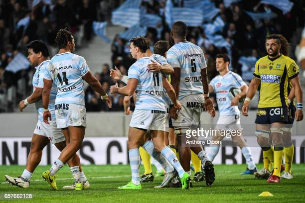 Juan Imhoff of Racing 92 celebrates his try during the Top 14 match between Racing 92 and Clermont Auvergne at Stade PierreMauroy on March 25 2017 in...