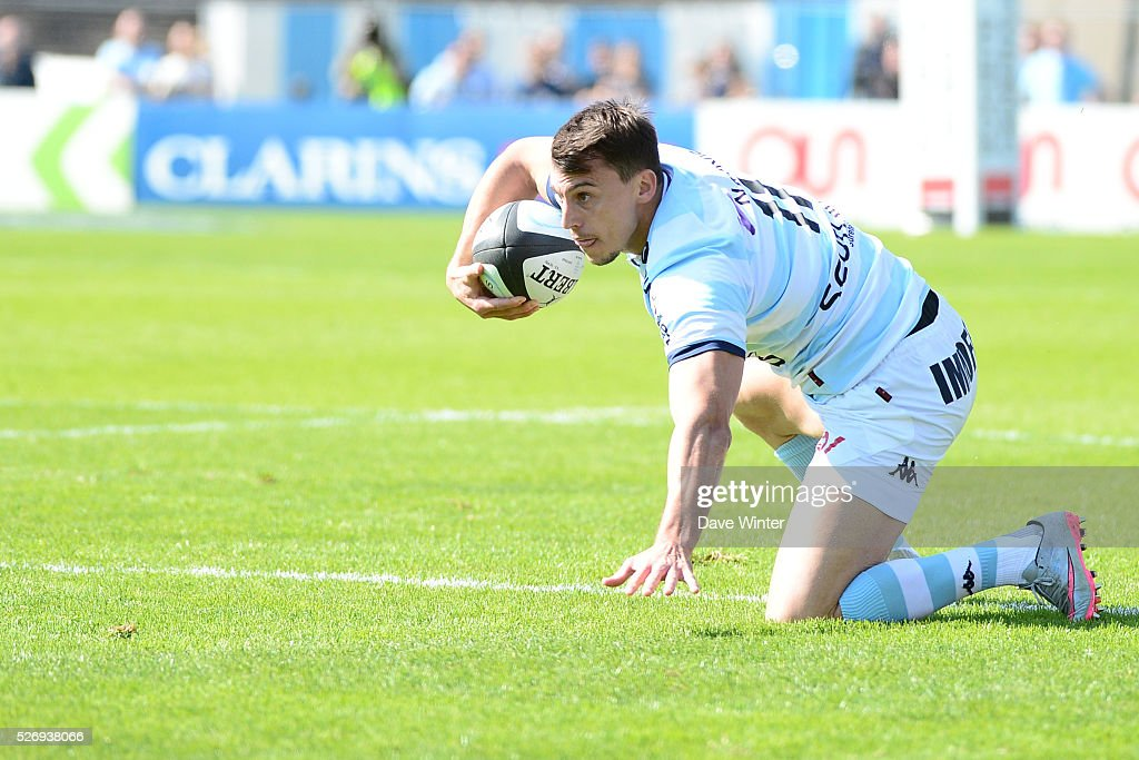 Juan Imhoff of Racing 92 during the French Top 14 rugby union match between Racing 92 v Clermont at Stade Yves Du Manoir on May 1, 2016 in Colombes, France.